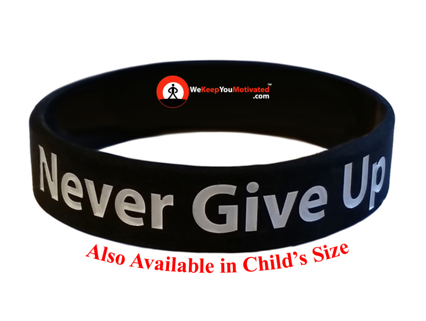 Never Give Up Inspirational Bracelet Wristband Black Worn By Giannis Antetokounmpo